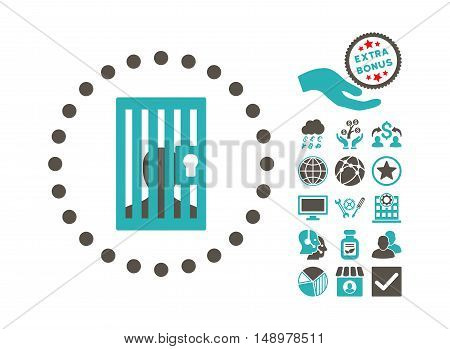 Closed Prisoner pictograph with bonus elements. Vector illustration style is flat iconic bicolor symbols grey and cyan colors white background.