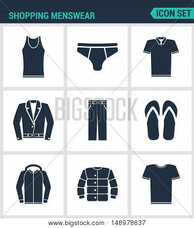 Set of modern vector icons. Shopping menswear T-shirt skirts pants sneakers leather jacket shirt jacket. Black signs on a white background. Design isolated symbol and silhouettes.