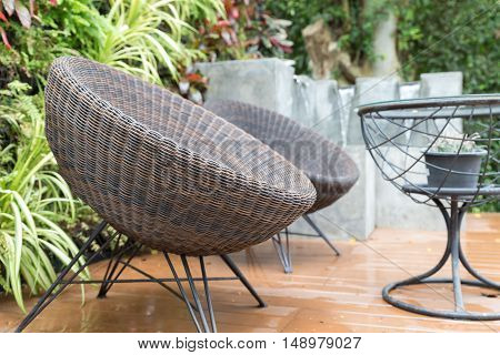 Rattan Wicker Chair And Desk On Patio
