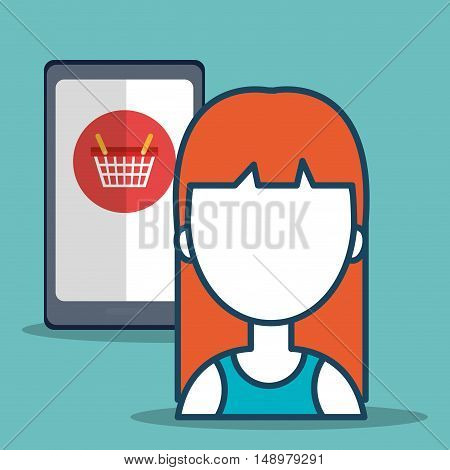 smartphone and avatar woman with shopping and ecommerce icon. colorful design. vector illustration