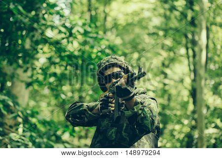 Portrait Of Soldier In Sunglasses