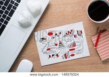 Keyboard notepad with sketches and coffee cup on wooden desk