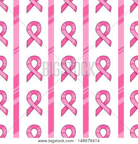 Pink ribbon, international symbol of breast cancer awareness. hand drawn illustration, seamless pattern on white background. Design element for card, package, web site