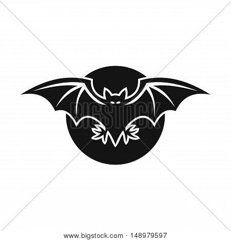Bat and moon icon in simple style on a white background vector illustration
