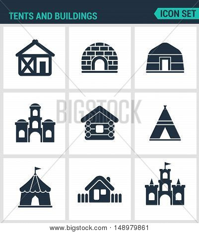 Set modern vector icons. Tents and buildings tent culture indian mandala arabic turkish castle fort hut courtyard. Black signs on a white background. Design isolated symbols and silhouettes.