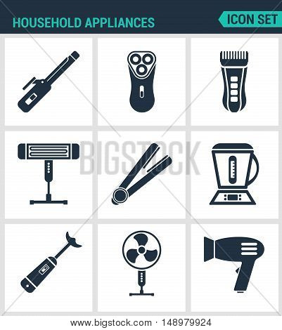 Set modern vector icons. Household Appliances hair dryers curling irons electric shavers shaving machine heater blender food processor ventilator. Black signs white background Design isolated.