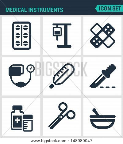 Set modern vector icons. Medical instruments pills blood transfusion dropper patch tonometer thermometer scalpel medicine scissors drug. Black signs white background. Design isolated symbols.