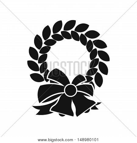 Merry Christmas wreath icon in simple style on a white background vector illustration