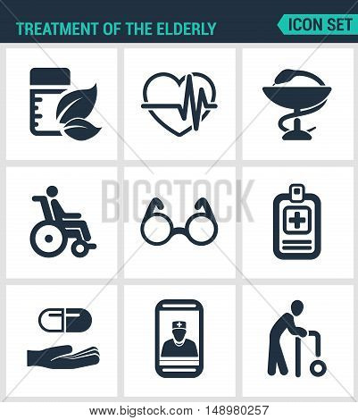 Set modern vector icons. Treatment the elderly medicine heart palpitations pharmacy disabled person glasses list pills phone call old man. Black signs white background. Design isolated symbols.