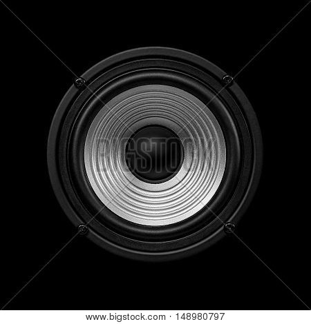 Frontal image audio speaker with undulating membrane. Photo black and white isolated on a black background.