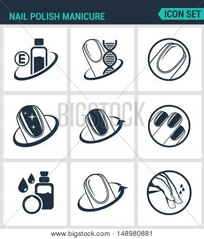 Set of modern vector icons. Nail polish manicure care shine. Black signs on a white background. Design isolated symbols and silhouettes.