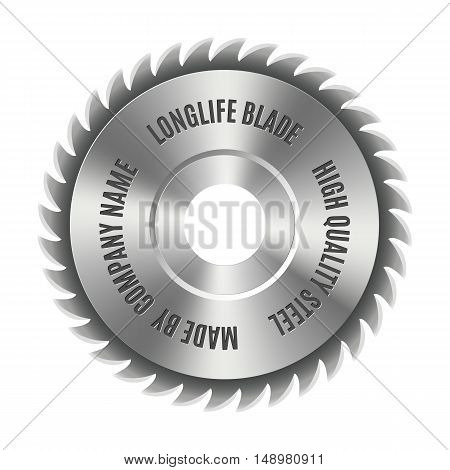 Realistic steel disc for circular saws tool design elements isolated on white background vector illustration.