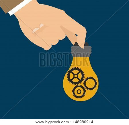 flat design hand holding lightbulb with gears business related icons image vector illustration