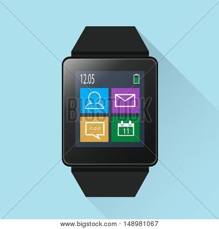 Smart watch with icons on screen modern and stylish gadget