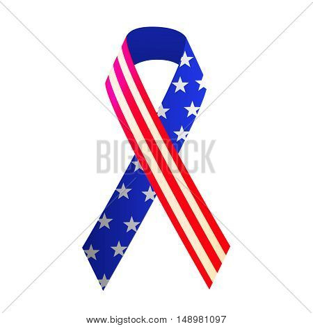 Patriotic red white and blue ribbon for 4th of July or Memorial Day. Vector illustration