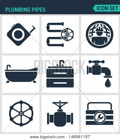 Set of modern vector icons. Plumbing pipe plumbing worldwide plumber bathroom sink faucet hardware. Black signs on a white background. Design isolated symbols and silhouettes.