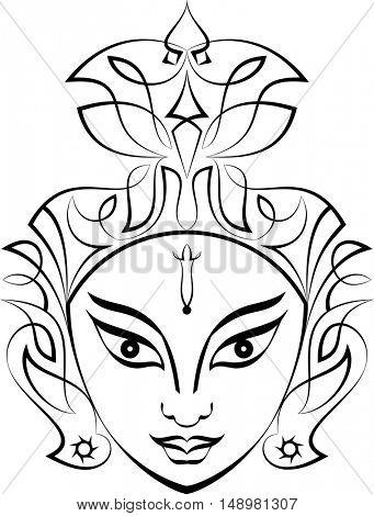 Durga Goddess of Power Vector Illustration
