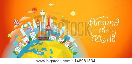 Famous sights around the world. Travel concept vector illustration. Around the world concept