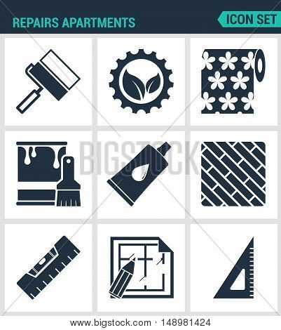 Set of modern vector icons. Repairs apartments roller gear wallpaper paint glue board level layout square. Black signs on a white background. Design isolated symbols and silhouettes.