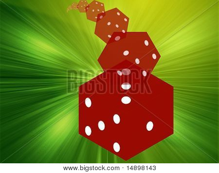 Illustration of translucent rolling red dice showing gambling