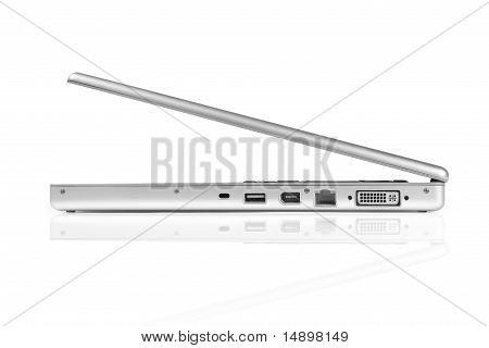 Laptop computer, side view.
