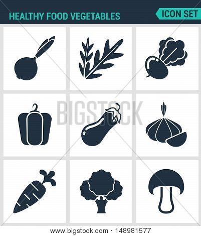 Set of modern vector icons. Healthy food vegetables onions arugula beets peppers eggplant garlic carrots broccoli mushroom. Black signs white background. Design isolated symbols silhouettes