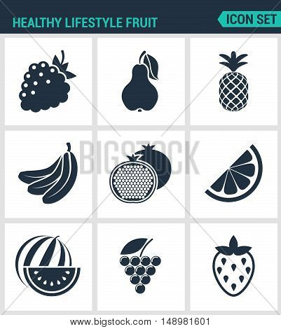 Set of modern vector icons. Healthy lifestyle fruit raspberry pear pineapple banana pomegranate lemon watermelon grapes strawberries. Black signs white background. Design isolated symbols.