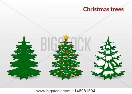 Vector illustration. Set of Christmas trees - green decorated with balls stars garland candy and snow.