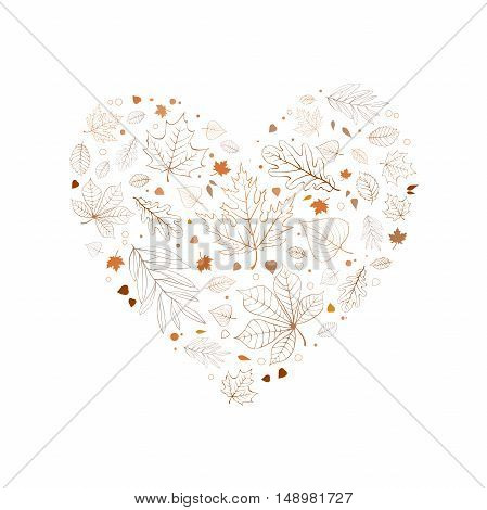 Autumn leaves heart design colorful outlines on white background