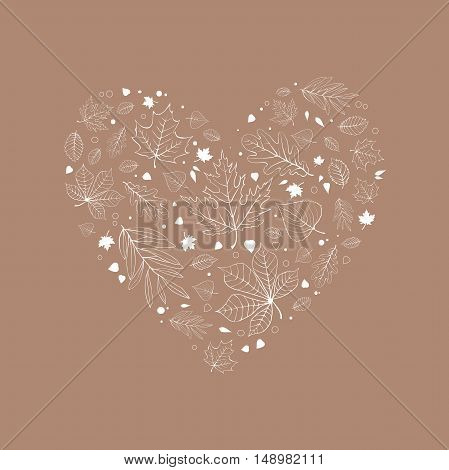 Autumn leaves heart design white outline on beige background