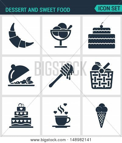 Set of modern vector icons. Dessert and sweet food croissant dessert cake fruit salad honey apple basket coffee ice creams. Black signs on white background. Design isolated symbols silhouette.