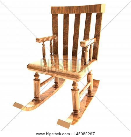 Rocking Chair Isolated Over White