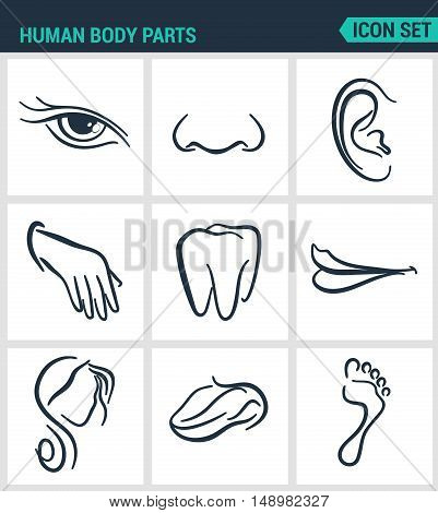 Set of modern vector icons. Human body parts eyes nose ear hand teeth mouth head tongue foot. Black signs on a white background. Design isolated symbols and silhouettes.