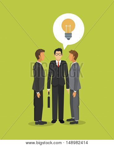 executive person in suit with  business related icons image vector illustration