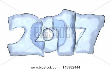 2017 Happy New Year Ice Text Isolated