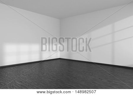 Black and white empty room corner with black hardwood parquet floor white walls and sunlight from window on the wall minimalist interior 3d illustration