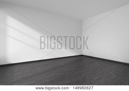 Corner of black and white empty room with black hardwood parquet floor white walls and sunlight from window on the wall minimalist interior 3d illustration