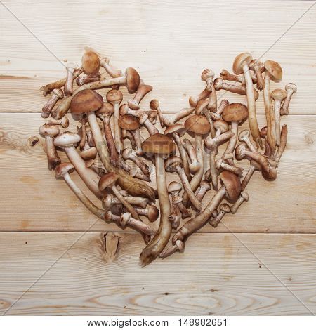 Honey Agaric Mushrooms In Shape Of Heart On Wooden Background