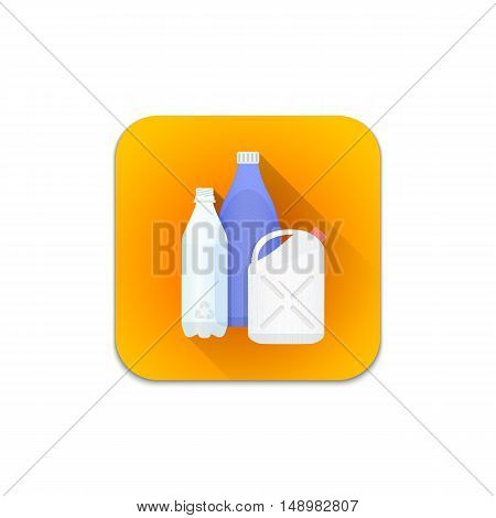 Vector Plastic Recycle Waste Icon.