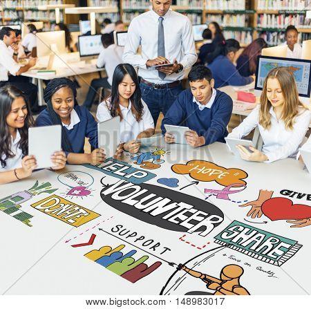 Students Teacher Library Volunteering Concept
