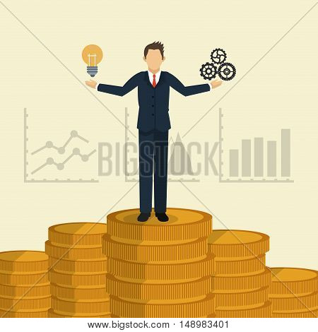 executive person in suit with chart graph business related icons image vector illustration
