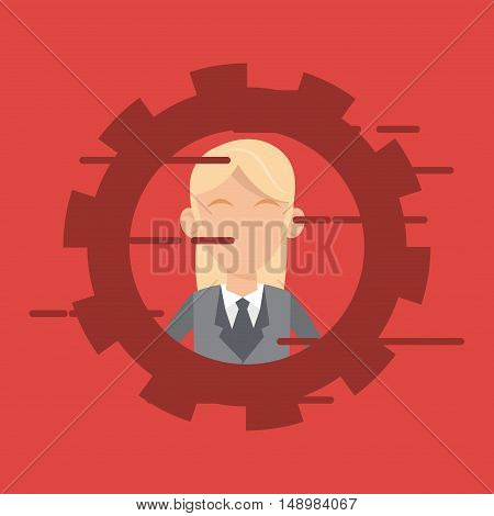 woman executive person in suit with gear business related icons image vector illustration