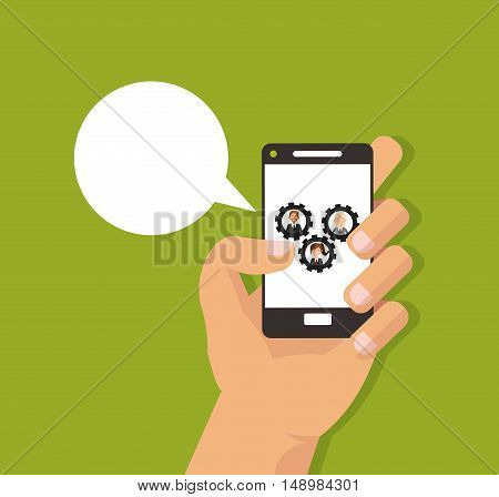 flat design hand holding cellphone with executive people and gears on screen business related icons image vector illustration