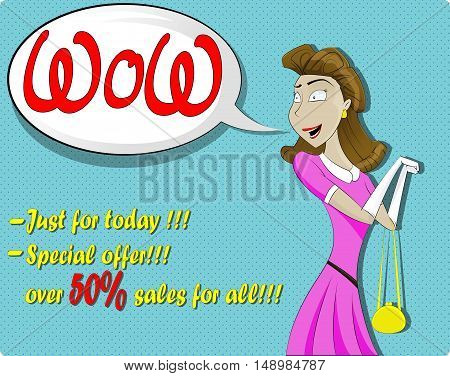 Cute surprised woman in cartoon comics style with speech bubble. Vector illustration.