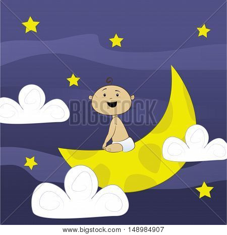 Fun little baby sitting on the moon with night sky background. Vector