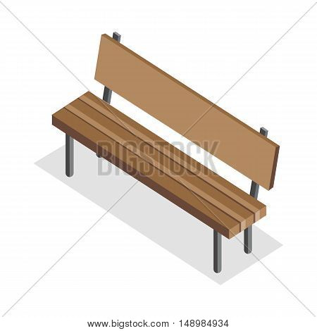 Wooden Bench vector illustration in isometric projection. Park furniture picture for architectural concepts, web, app icons, infographics, logotype design. Isolated on white background.