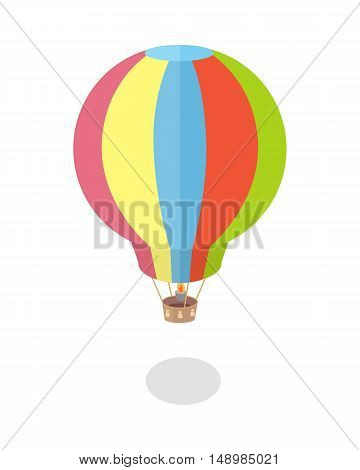 Air balloon icon. Striped multicolored aerostat with shadow. Colorful air balloon in flat. Fly transport sign. Isolated vector illustration on white background.