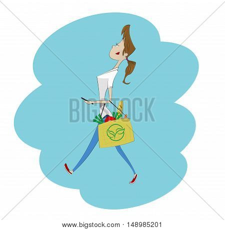 Cartoon girl carrying paper bags of groceries. No plastic bags concept illustration. Vector