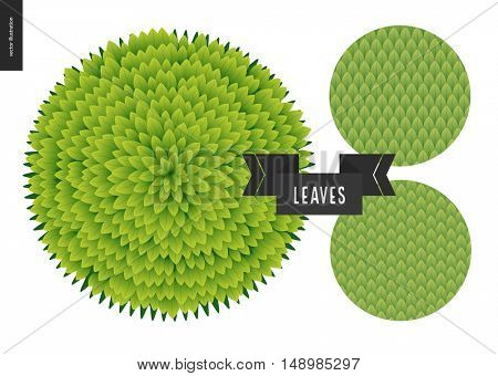 Foliage seamless pattern. Green leaf seamless vector catroon hand drawn patterns and a green round bush