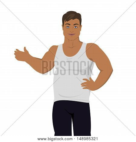 Unhealthy food consumption. Man before weight loss. Fat young isolated on white. Person with big belly prefers unhealthy food. Part of series of promotion healthy diet and good fit. Vector